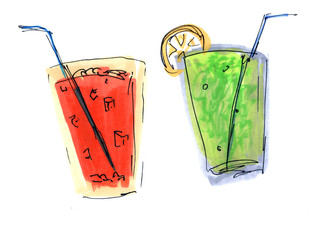 Hand drawn marker lemonade glasses. Doodle summer drinks. Illustration isolated on white background. Design elements