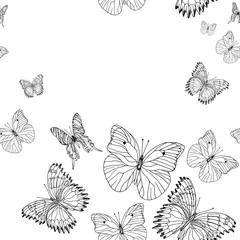 Background pattern of butterflies black and white hand drawn ink image. Perfect for fabrics, tissue and paper design.
