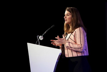 "Melinda Gates, co-founder of Bill and Melinda Gates Foundation, addresses gathering during ""Advancing Asia: Investing for the Future"" conference in New Delhi"