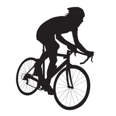 Cyclist vector silhouette, road bicycle racing, side view