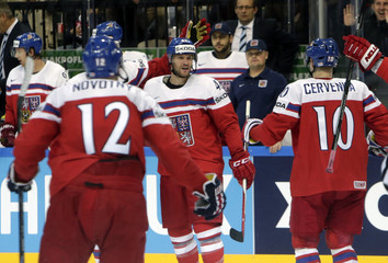 Jordan of the Czech Republic celebrates his goal against Latvia with team mates during their Ice Hockey World Championship game at the O2 arena in Prague