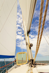 Detailed closeup of sail on sailboat