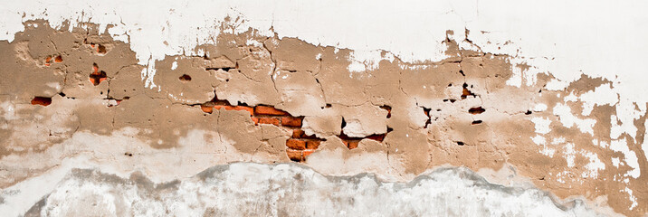 cracked concrete vintage brick wall background, old dirty