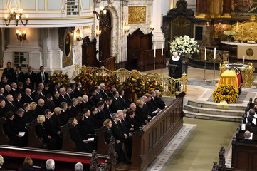 General view of memorial service for late former West German chancellor Schmidt in Hamburg