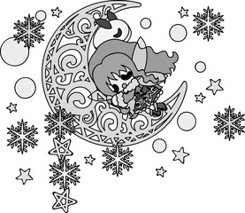 The cute illustration of autumn and winter -Sleeping snow fairy-