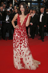 """Model Laetitia Guarino poses on the red carpet as she arrives for the screening of the film """"The Sea of Trees"""" in competition at the 68th Cannes Film Festival in Cannes"""
