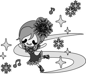 The cute illustration of autumn and winter -Ice skating-