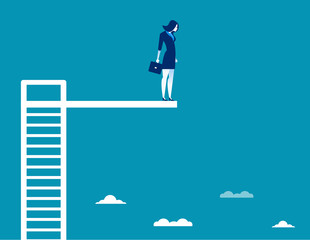 Business woman On Diving Board. Concept business vector illustration.