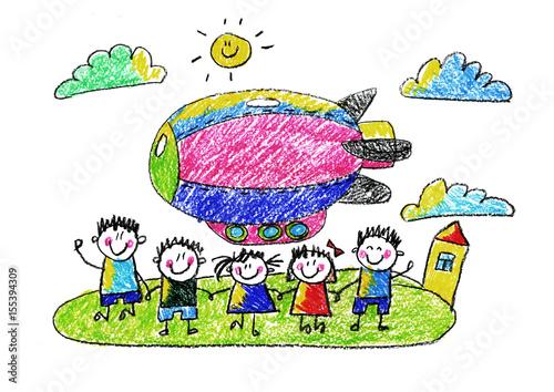 Kids drawing Kindergarten School Happy children with airship ...