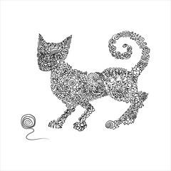 Hand drawn ornamented cat
