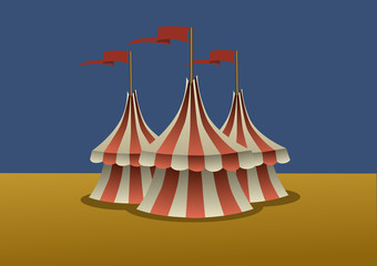 A group of three circus tents. Vector illustration