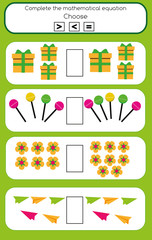 Math educational game for children. Complete the mathematical equation task, choose more, less or equal