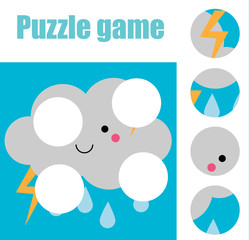 Matching children educational game. Match pieces and complete the picture. Puzzle kids activity. weather theme