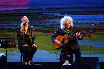 Kerry Ellis and Brian May perform during their Candlelight Concerts tour in Valletta