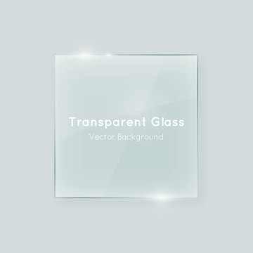 Transparent vector glass square shape. Geometric crystal clear glass abstract design element with transparency.