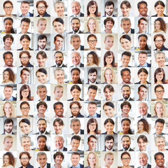 Portrait Collage mit vielen Business Geschäftsleuten