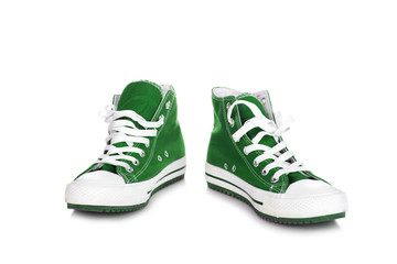 Green spor shoes isolated on white background
