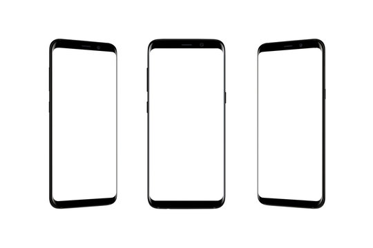 Isolated smart phone in three position. Modern black mobile with thin rounded edges.