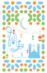 Beautiful Islamic background suitable for use as a Ramadan kareem background or  a greeting card on the occasion of Eid , Arabic  scripts  translation : Ramdan kareem  - vector illustration