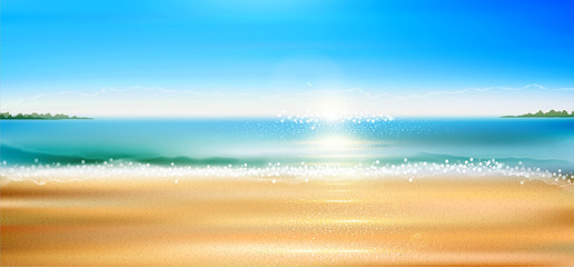 Vector seascape with beach, sand, sea