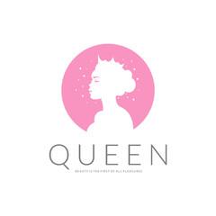 Queen logo. Beauty logotype