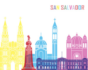 Fototapete - San Salvador skyline pop