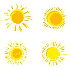 Vector set of hand drawn solar symbols. Four painted sun.