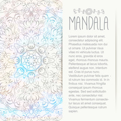 Mandala on the watercolor background. Bohemian style. Greeting, invitation card. Elements for design.