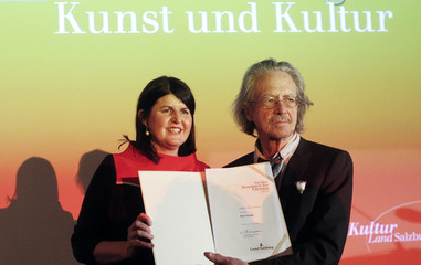 Austrian author and director Peter Handke receives an art and culture award on occasion of his 70th birthday marked today in Salzburg