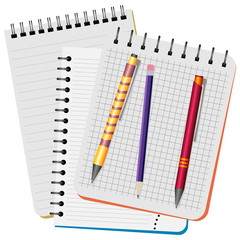 Three notebooks,  yellow  pen, red pen and purple pencil on a white background