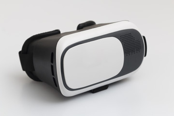 VR Glasses, Virtual Reality Lens Headset, Front view, Isolated on Light Grey
