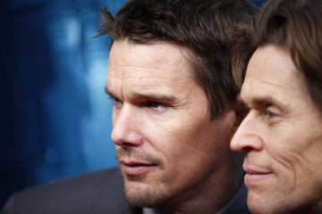 Actors Ethan Hawke (L) and Willem Dafoe arrive for the premiere of the film 'Daybreakers' in New York