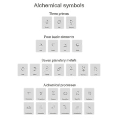 monochrome icons set with alchemy symbols for your design