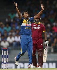 Sri Lanka's Lakmal appeals for successful wicket for West Indies' Charles during their first One Day International cricket match in Colombo