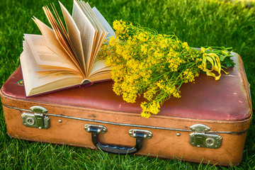 Vintage antique suitcase, bouquet of yellow flowers and book concept of romance and travel against the background of green grass