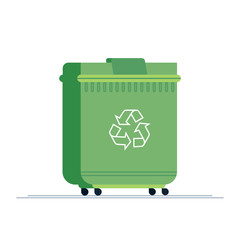 Dumpster icon. Flat illustration of