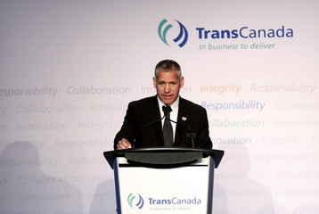 President and CEO Girling of TransCanada addresses shareholders during the company's annual general meeting in Calgary.