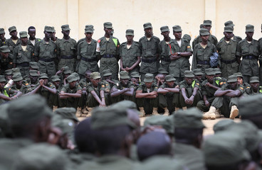 Somali government soldiers, dressed in Uganda People's Defence Forces (UPDF) uniform and trained by the European Union Training Mission (EUTM) team, attend their passing out ceremony at Bihanga army training school