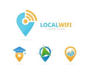 Vector of map pointer and wifi logo combination. GPS locator and signal symbol or icon. Unique pin and radio, internet logotype design template.