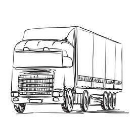 Delivery service. Hand drawn truck. Transport.