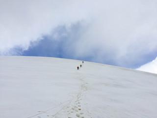 A bunch of climbing up to the ridge. Kyrgyzstan. Pamir