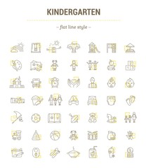 Vector graphic set. Icons in flat, contour, thin, minimal and linear design.Kindergarten. Establishment of public education of children. Concept illustration for Web site.Sign,symbol, element.