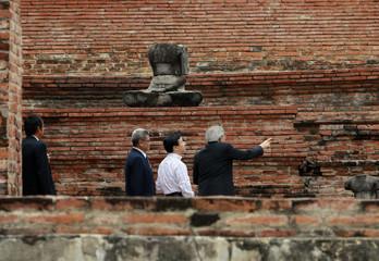 Japan's Crown Prince Naruhito visits the Wat Mahathat temple in Ayutthaya