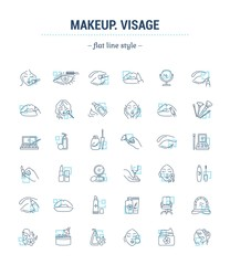 Vector graphic set.Isolated Icons in flat, contour, thin, minimal and linear design.Makeup silhouette.Stylist is a makeup artist.Applying makeup.Concept illustration for Web site.Sign,symbol, element.