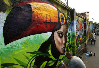 "Artists participate in the ""Graffest"" street art and graffiti animation festival in St. Petersburg"
