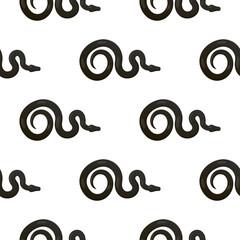 Slither Black Snake Seamless Pattern Vector