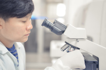 Asian scientist working in laboratory.
