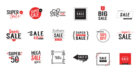 Eighteen Sale Letterings Set