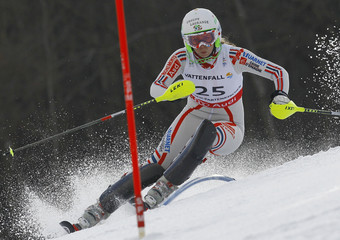Barthet of France competes during the women's slalom race at the Alpine Skiing World Championships in Garmisch-Partenkirchen