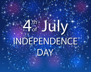 Independence Day with firework on blue background